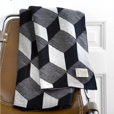 Jacquard Knitted Squares Cotton Blanket Color: Black