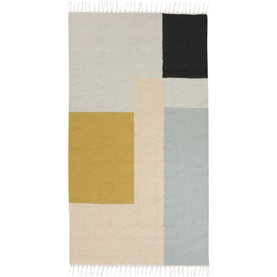Ferm Living Kelim Hand Woven Gray Area Rug Rug Size: 47 x 67