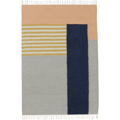 Hand-Loomed Grey Area Rug Rug Size: 47 x 67