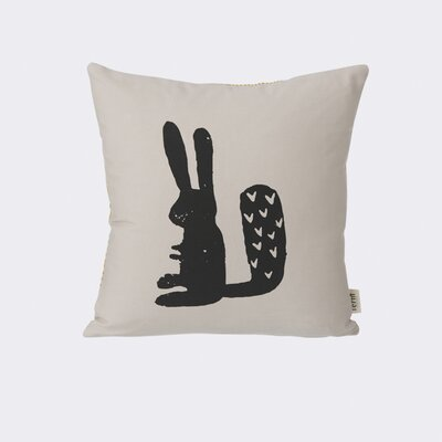 Rabbit Silhouette Cotton Throw Pillow