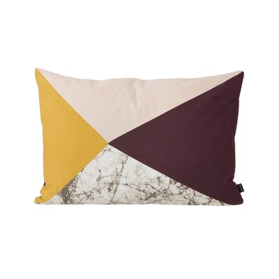 Ferm Living Patchwork Fusion Triangle Cotton Lumbar Pillow Color: Aubergine / Marble
