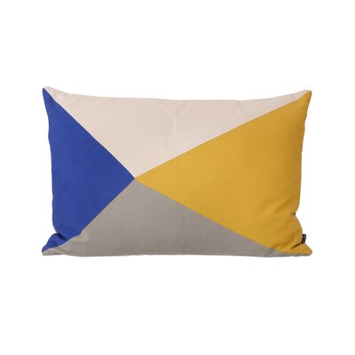 Ferm Living Patchwork Fusion Triangle Cotton Lumbar Pillow Color: Curry / Blue