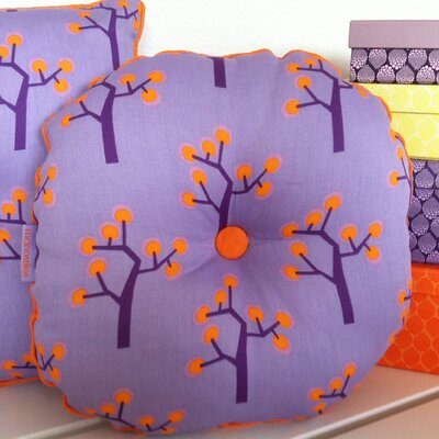 Graphic Tree Kids Round Cotton Throw Pillow Color: Purple, Orange
