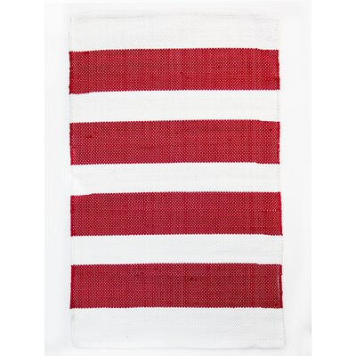 Brewster Red/White Indoor/Outdoor Area Rug Rug Size: Runner 24 x 7