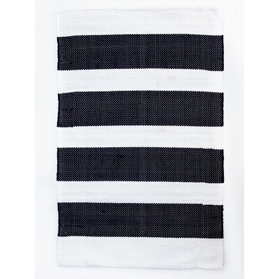 Brewster Navy/White Indoor/Outdoor Area Rug Rug Size: 26 x 42