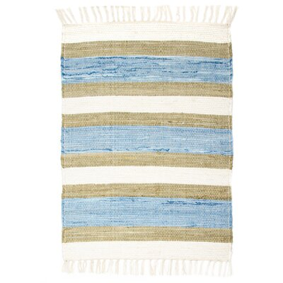 Hampton High Count Hand-Woven Blue Area Rug Rug Size: 26 x 42