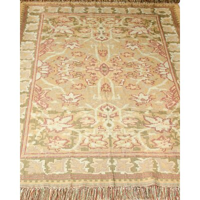Arts and Crafts Kilim Hand-Woven Celadon Area Rug