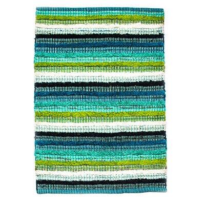 Casa Bella Hand-Woven Blue/Green Area Rug Rug Size: 2 x 3
