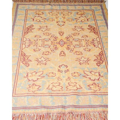 Arts and Crafts Kilim Hand-Woven Butter Blue Area Rug