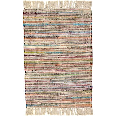 Bombay Hand Woven Cotton Pink/Brown/Blue Area Rug Rug Size: Rectangle 26 x 42