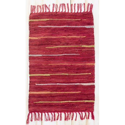 Canyon Hand Woven Cotton Red Area Rug Rug Size: Runner 24 x 7