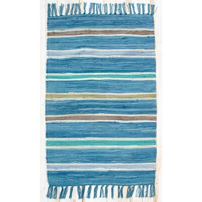 Cottage Bermuda Blue Stripe Rug Rug Size: Rectangle 26 x 42
