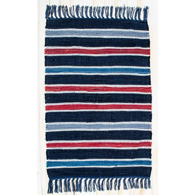 Cottage Navy Stripe Rug Rug Size: 26 x 42