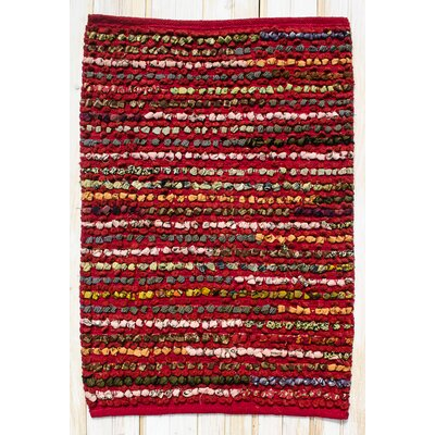 Staccato Hand Woven Cotton Red Area Rug Rug Size: Rectangle 26 x 42