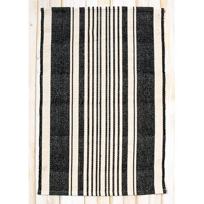 Boothbay Black/Natural Stripe Area Rug Rug Size: 26 x 42