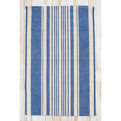 Boothbay Blue & Natural Stripe Area Rug Rug Size: 2' x 3'
