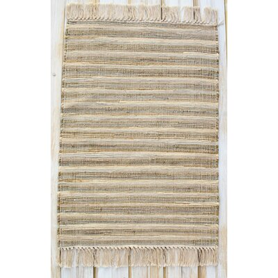 Bombay Sandshell Hand-Woven Cotton Area Rug Rug Size: Rectangle 26 x 42