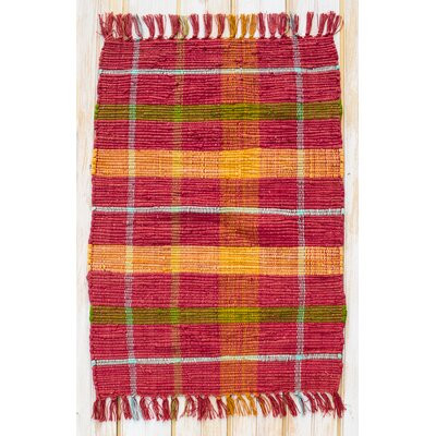 Calypso Red Plaid Area Rug Rug Size: 26 x 42