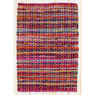 Cross Grain Hand Woven Cotton Red/Pink/Blue Area Rug Rug Size: Rectangle 26 x 42