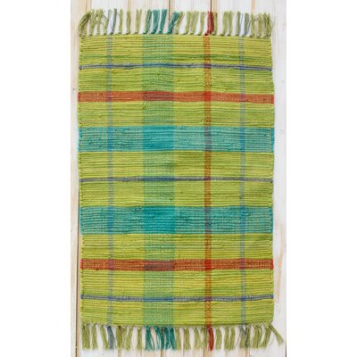 Calypso Citron Plaid Yellow/Blue Area Rug Rug Size: 26 x 42