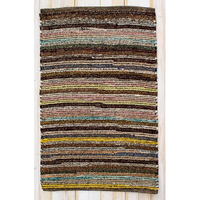 Paris Hand Woven Cotton Brown/Yellow/Black Area Rug Rug Size: Rectangle 26 x 42