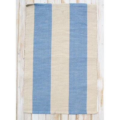Montauk Blue/Natural Stripe Rug Rug Size: Runner 24 x 7