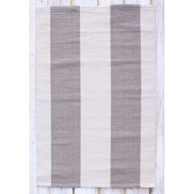 Montauk Gray/Natural Stripe Rug Rug Size: Runner 24 x 7