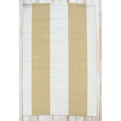 Montauk Yellow/White Stripe Rug Rug Size: Runner 24 x 7