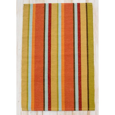 Sunset Fiesta Hand-Woven Cotton Gold Area Rug Rug Size: Runner 24 x 7