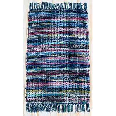 Hopscotch Navy Striped Area Rug Rug Size: Rectangle 26 x 42