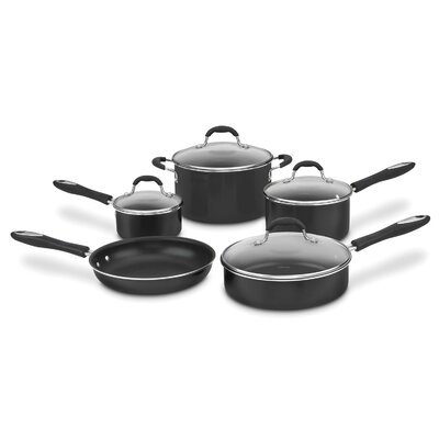 Nonstick Aluminum 9 Piece Cookware Set Color: Black