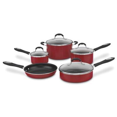 Nonstick Aluminum 9 Piece Cookware Set Color: Red