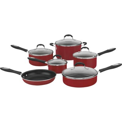Advantage Nonstick 11 Piece Cookware Set Color: Red