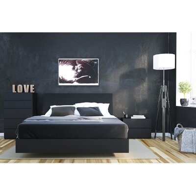 Mullet Platform Bed Size: Queen, Color: Black