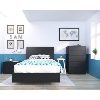 Mullet Platform Bed Size: Twin, Color: Black