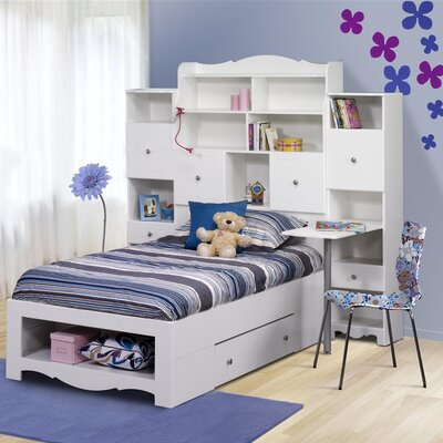 Cheap Pixel Twin Size Bed with Tall Bookcase Headboard in White (QB1799)