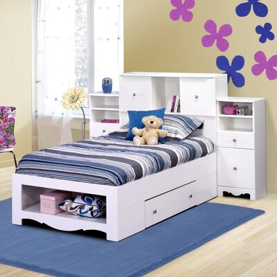 Pixel Twin Size Bed With Tall Bookcase Headboard In White Qb