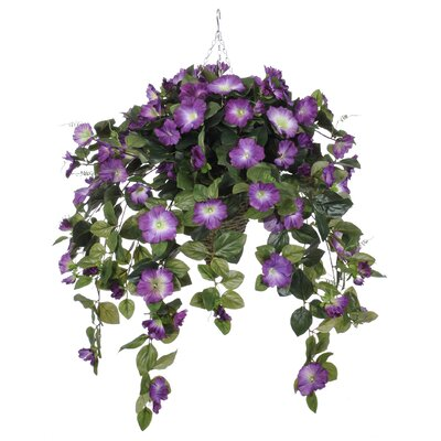 Artificial Petunia Hanging Plant in Cone Basket HF0357-P