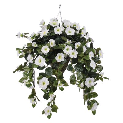 Artificial Petunia Hanging Plant in Cone Basket HF0357-W