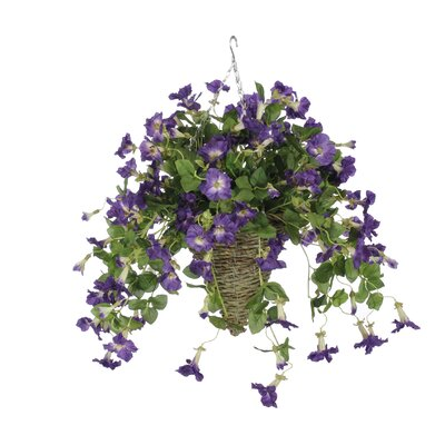 Artificial Petunia Hanging Plant in Cone Basket Flower Color: Purple HF0358-PU