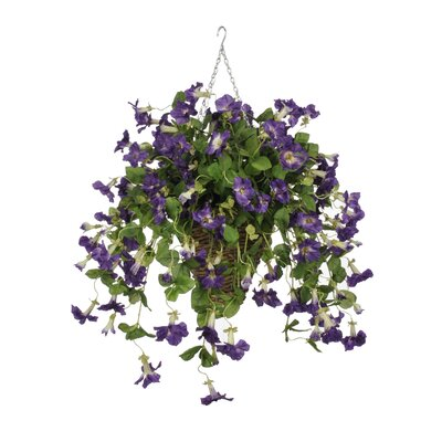 Artificial Petunia Hanging Plant in Square Basket HF0401-PU