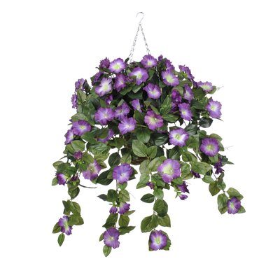Artificial Petunia Hanging Plant in Square Basket HF0402-P