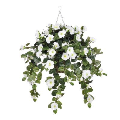 Artificial Petunia Hanging Plant in Square Basket HF0402-W
