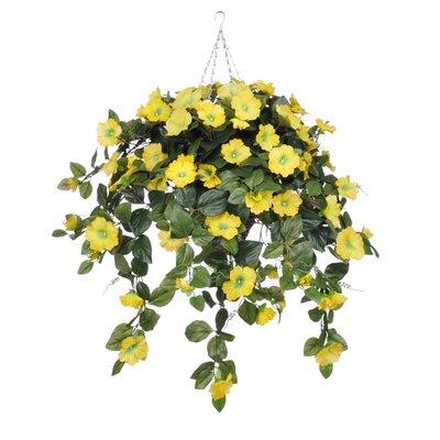 Artificial Petunia Hanging Plant in Square Basket HF0402-Y