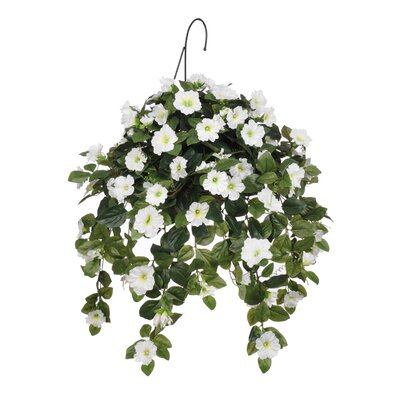 Artificial Petunia Hanging Plant in Basket HF0370-W