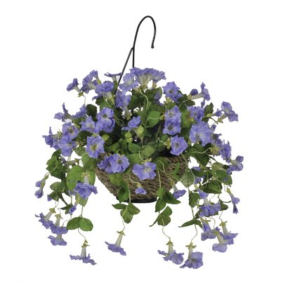 Artificial Petunia Hanging Plant in Basket HF0094