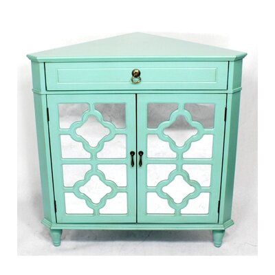 Wooden Corner Cabinet with 1 Drawer and 2 Doors Finish: Green