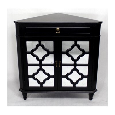 Wooden Corner Cabinet with 1 Drawer and 2 Doors Finish: Black