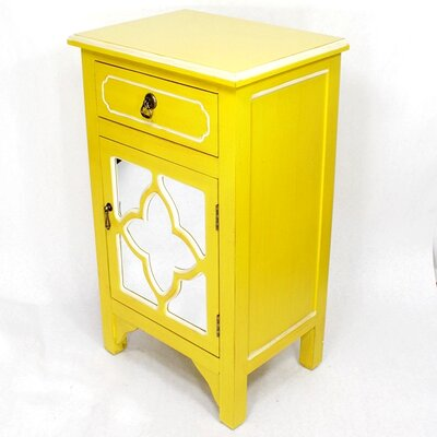 Wooden Cabinet with 1 Drawer and 1 Door Finish: Yellow