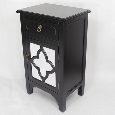 Wooden Cabinet with 1 Drawer and 1 Door Finish: Black